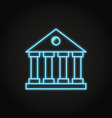 bank building icon in neon line style vector image vector image