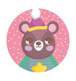 bear with hat and sweater merry christmas vector image vector image