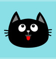 black cat head face icon looking up red tongue vector image