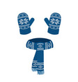 blue knitted scarf and gloves vector image