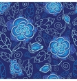 Blue night flowers seamless pattern background vector image vector image