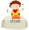 Boy eating chicken for dinner vector image vector image