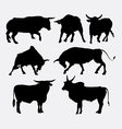 Bull animal silhouettes vector image vector image