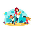 busy mother feeds child vector image vector image