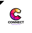c letter icon template puzzle connectivity vector image vector image