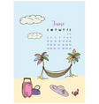 calendar month june 2018 vacation vector image vector image