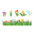 cartoon garden flowers and element set vector image vector image