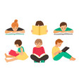cartoon reading kids vector image vector image