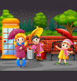 cartoon three girl carrying umbrella under the rai vector image vector image
