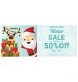 christmas winter sale banner with santa claus vector image vector image
