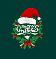 christmas wordmark santa face concept vector image