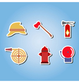 color set with firefighter flat icons vector image