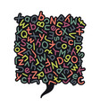 colorful mixed alphabet speech bubble vector image