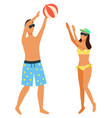 couple playing beach volleyball isolated on white vector image vector image