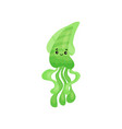 cute smiling green octopus cartoon character vector image
