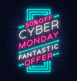 cyber monday concept banner in fashionable neon vector image vector image