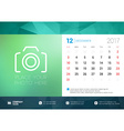 Desk Calendar Template for 2017 Year December vector image vector image