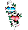 double heart tattoo design vector image vector image