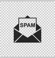 envelope with spam icon isolated vector image vector image