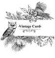 Forest greeting cards with owls spruce and fir vector image vector image