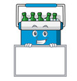 grinning with board freezer bag character cartoon vector image vector image