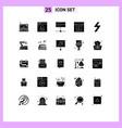 group 25 modern solid glyphs set for flash web vector image vector image