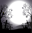 Halloween background destroyed cemetery and owl vector image vector image
