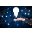 Idea concept light bulb on hand vector image