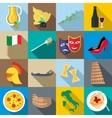 Italia icons set flat style vector image