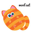 knitted cat character on white background vector image vector image