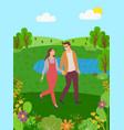lake flowers and hills couple man woman walks vector image vector image