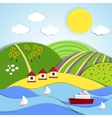 landscape sea sun and green hills vector image vector image