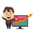 man showing growth analytics on white background vector image vector image