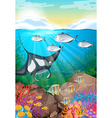 Many fish swimming under the ocean vector image vector image