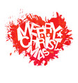 merry christmas typography at watercolor heart vector image vector image