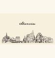 murcia skyline spain hand drawn sketch city vector image