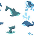 ocean water and dolphin animals seamless pattern vector image vector image
