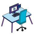office workplace with desk and desktop scene vector image