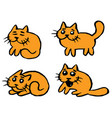 orange cats emoticons set isolated vector image
