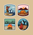 outdoor camping simple lable vector image