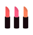 Pink nude lipstick set on white background vector image