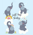 poster with cute elephants and words just vector image