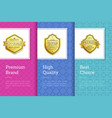 premium brand high quality best choice gold labels vector image vector image