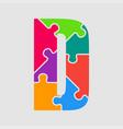 puzzle jigsaw letter - d puzzle pieces vector image