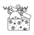 reindeer coming out gift box celebration merry vector image vector image