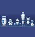robot characters cartoon futuristic robots vector image