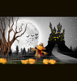 Scary castle with scarecrow and pumpkins full moo