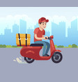 scooter with delivery man fast courier vector image