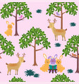 seamless pattern with cute animals in the forest vector image vector image