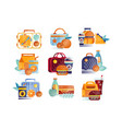 set icons with lunch boxes and bags vector image